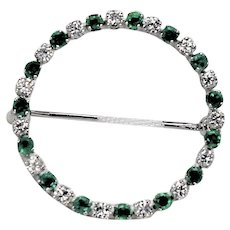 Vintage Emerald and Diamond Brooch, 14Kt WG