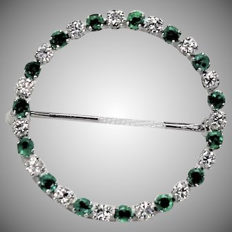 Vintage Emerald and Diamond Brooch, 14Kt WG