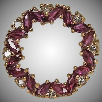 Small Ruby and Diamond Brooch, 14Kt YG