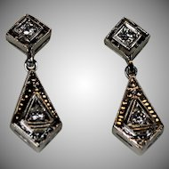 Vintage Diamond Drop Earrings, 14 kt White Gold