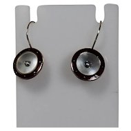 Enamel ,Mother of Pearl and Seed Pearl Vintage Wire Earrings, 14Kt YG