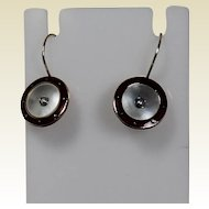 Enamel ,Mother of Pearl and Seed Pearl Vintage Wire Earrings, 14Kt YG