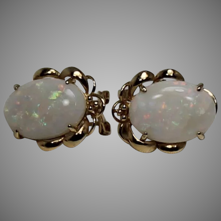 Large Omega Back Opal Earrings 14kt Yg