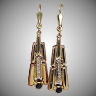 Art Deco Diamond and Blue Spinel Drop Earrings, 14K Yg