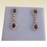 Exquisite Diamond and Sapphire Earrings, 18Kt YG