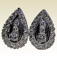 Stunning Large Diamond Omega Earrings, 1ctw 14 Kt WG