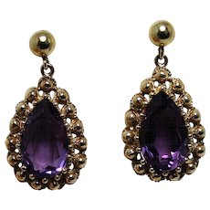 Fabulous Amethyst Drop Dangle Earrings, 14 Kt YG