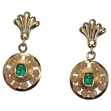 Gold and Emerald Drop Earrings, 14Kt YG