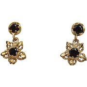 Deep Red Garnet Drop earrings, 14K YG