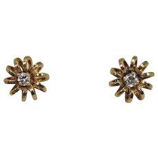 Diamond Flower Earrings, 14Kt YG