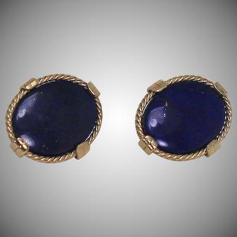 Amazing Vintage Lapis Earrings, 14Kt YG