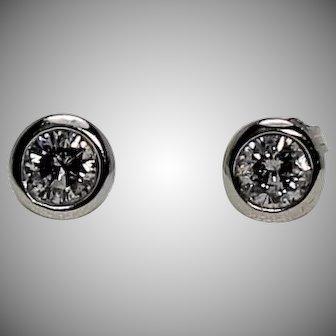 Bezel Set Diamond Studs,Approx 2/3 ctw, WG