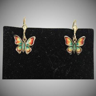 Lovely Enameled Butterfly Leverback Drop Earrings, 14 Kt YG
