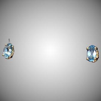Oval Aquamarine Stud Earrings, 14Kt YG