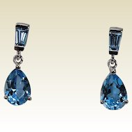 Blue Topaz Drop Dangle Earrings, 14Kt WG