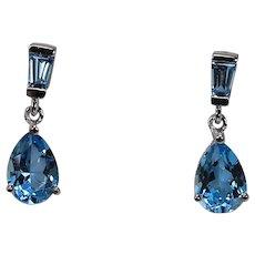 Blue Topaz Drop Dangle Earrings, 14Kt WG