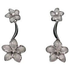 Plumeria and Diamond Drop Dangle Earrings, 14Kt WG