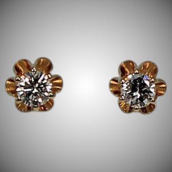 Diamond Buttercup Earrings, 1/3 ctw 14Kt YG