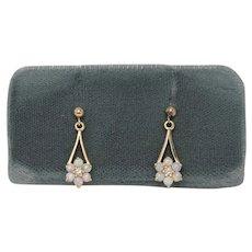 Opal and Diamond Drop Earrings, 14Kt YG