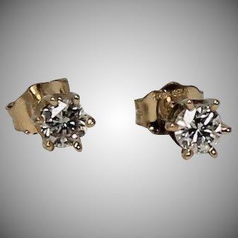 Diamond Stud Earrings, 1/3 ctw, 14Kt YG