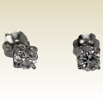 Diamond Stud Earrings, Screwback, 14Kt WG