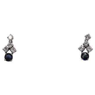 Petite Diamond And Sapphire Drop Earrings, 14Kt WG