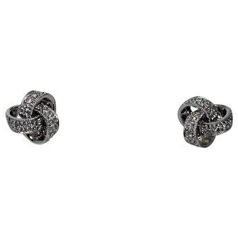 Diamond Love Knot Earrings, 14 Kt WG
