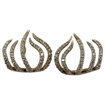 Gabriele and Co. Diamond Earrings, 14 Kt YG