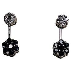 Diamond and Sapphire Daisy Drop Earrings, 14Kt WG
