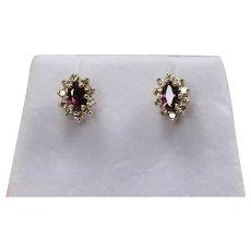 Diamond and Ruby Earrings, 14 Kt YG