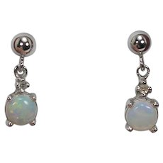 Dainty Opal and Diamond Dangle Earrings, 14Kt. WG