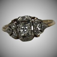 Vintage Diamond Ring, 14Kt Two Tone.