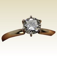 Vintage Diamond Solitaire, 65 points, 14 K YG