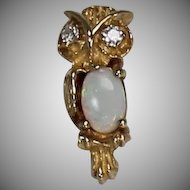 Opal and Diamond Owl Pendent, 14Kt YG