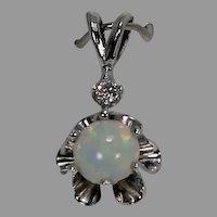 Opal Pendant, 14 Kt, WG