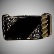 Men's Onyx and Diamond Ring, 14K YG