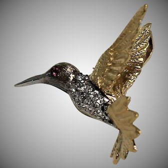 Sweet Hummingbird Pendant, 18K YG,WG