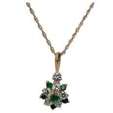 Emerald and Diamond Pendant with Chain, 14 Kt YG