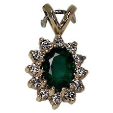 Emerald and Diamond Pendent, 14Kt YG