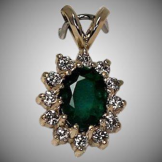 Emerald and Diamond Pendent, 14Kt YG