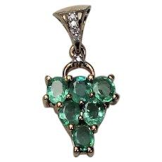 Emerald and Diamond Pendent, 10 Kt YG