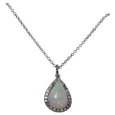 Stunning Diamond and Opal Pendant With Chain, 14K, WG