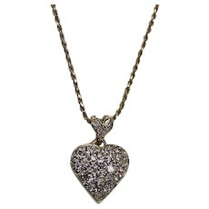 Pave Set Double Diamond Heart Pendent, 14 Kt YG