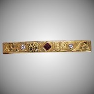 Antique Diamond and Red Spinel Pin or Brooch, 14 Kt YG
