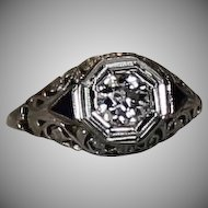 Filigree Diamond and Sapphire Ring, 14kt WG size 3.25