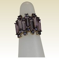 Amethyst and Tanzanite Ring, 10 Kt Yellow Gold