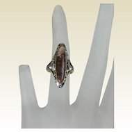 Belais Two Tone Filigree Ring, 1920's ,18kt wg and 10 kt yg