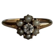 Victorian Seed Pearl and Diamond Ring, 14kt YG