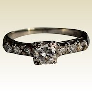 Vintage Diamond Engagement Ring, 14 kt WG
