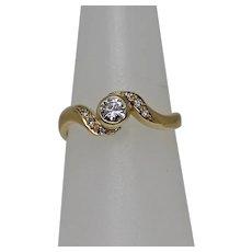 Bezel Set Diamond Ring, 18Kt YG